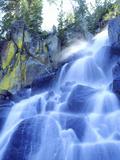 Waterfall Cascades Past Lichen-Covered Rocks  Sierra Nevada Mountains  California  USA