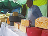 Street Market Stall Selling Cheese  Montevideo  Uruguay