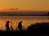 Photographers after Sunrise Walking Along Potagannissing Bay in Springtime  Drummond Island