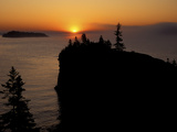 Spring Sunrise Silhouettes Edwards Island and Scoville Point on Lake Superior