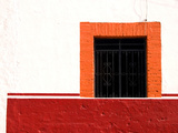 Detail of Colorful Wooden Window and Wrought Iron Bars  Cabo San Lucas  Mexico