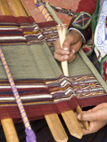 Woman in Traditional Dress  Weaving with Backstrap Loom  Chinchero  Cuzco  Peru
