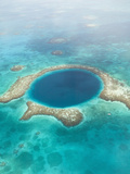 Aerial of Blue Hole  Sailboat Anchored  Lighthouse Atoll  Belize
