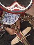 Woman in Traditional Dress and Hat  Weaving with Backstrap Loom  Chinchero  Cuzco  Peru