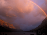 Rainbow and Stormy Sunrise Over St Mary Lake  Glacier National Park  Montana  USA