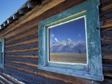 Window Reflection of the Mountains at Grand Teton National Park  Wyoming  USA