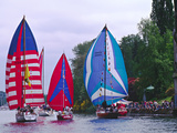 Sailboats with Spinakers in the Opening Day Parade of Boating Season  Seattle  Washington  USA