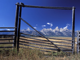 Ranch's Fencing Frames the Mountains of Grand Teton National Park  Wyoming  USA
