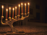 Menorah with Candles  Lit for Chanukah  Bellevue  Washington  USA