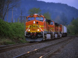 Freight Train Moving on Tracks  Stevenson  Columbia River Gorge  Washington  USA