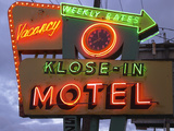 Klose-In Motel Sign Lights as Night Falls  Seattle  Washington  USA
