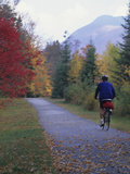 Man Riding on Paved Trail  Franconia Notch  New Hampshire  USA