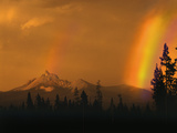 Evening Sun and Passing Rainstorm Over Mt Thielsen  Oregon Cascades Recreation Area  Oregon  USA
