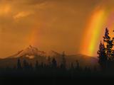 Evening Sun and Passing Rainstorm Over Mt Thielsen  Oregon Cascades Recreation Area  Oregon  USA