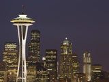 The Space Needle and Skyline at Night  Seattle  Washington  USA
