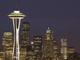 The Space Needle and Skyline at Night  Seattle  Washington  USA