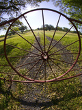 Gate with Metal Wheel Near Cuero  Texas  USA