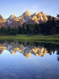 Grand Teton Mountains Reflecting in the Snake River at Sunrise  Grand Teton National Park  Wyoming