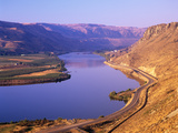 Columbia River with Apple Orchards and Desert Hills  Chelan  Washington  USA