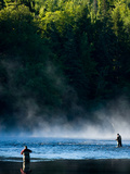 Fly-Fishing in Early Morning Mist on the Androscoggin River  Errol  New Hampshire  USA