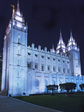 Mormon Salt Lake Temple at Night  Salt Lake City  Utah  USA