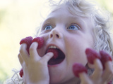 Girl Eating Raspberries  Bellingham  Washington  USA