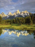 Grand Teton Mountains Reflecting in the Snake River  Grand Teton National Park  Wyoming  USA
