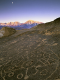 Circular Petroglyphs at the Edge of the Great Basin  Sierra Nevada Range in the Distance  Las Vegas
