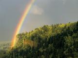 Springtime Rainbow Arching Over Vista House on Crown Point