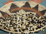 Posole - Pueblo Indian Dried Corn - in a Native American Basket