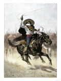 California Vaquero Galloping to Lasso a Steer  c1800