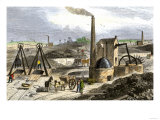 Whimsey Engine Drawing Coal in the Staffordshire Mines  England  c1850