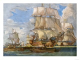 British Navy under Lord Howe Sailing from Spithead for Battles Off the Coast of France  c1794