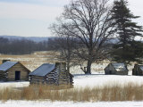 Continental Soldiers&#39; Cabins Reconstructed at the Valley Forge Winter Camp  Pennsylvania