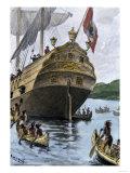 Henry Hudson's Ship  Half Moon  Arriving at Manhattan Island  c1609