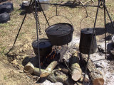 Campfire Cooking at a Confederate Encampment Living History Demonstration  Shiloh  Tennessee