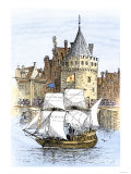 Hudson's Ship  Half-Moon  Leaving Amsterdam for the New World  c1609