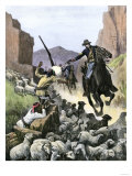 US Cavalry Soldier Shooting Apache Sheep-Herders in a Canyon