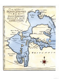 Early Map of Hudson&#39;s Strait and Hudson&#39;s Bay  1662  in Arctic Canada