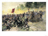 Confederate Charge Up Little Round Top  Battle of Gettysburg  c1863