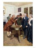 Samuel Adams Warning British Royal Governor Thomas Hutchinson after the Boston Massacre  c1770