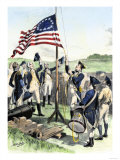American Soldiers Hoisting the New 13-Star US Flag during the Revolutionary War
