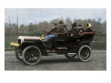 Family Riding in a Steam-Powered White Company Automobile  c1907