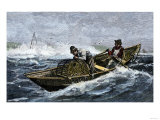 Lobstermen Hauling Traps Off the Coast of Maine  c1800