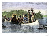 Father Marquette and Louis Joliet  the First White Men on the Upper Mississippi River  c1673