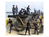 Union Army Spiking the Cannons of Fort Moultrie before Evacuating to Fort Sumter  c1860