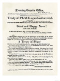 American Handbill Announcing the Treaty of Ghent  Ending the War of 1812