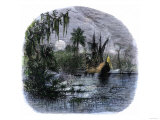 Early Explorers Coming Ashore Along a Tropical Coast in the New World