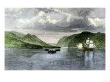 Henry Hudson's Ship  Half Moon  Meets Native Americans in the Hudson River Highlands  c1609