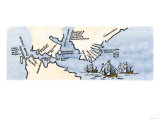 Hudson's Map of His Voyages in the Arctic, Published in 1612 Giclée